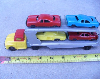 Vintage Tin Litho Car Carrier with 4 Cars