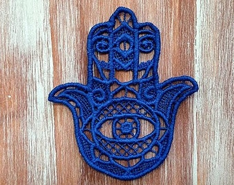 Embroidered Lace Evil Eye Ornament-Hamsa Lace Medallion-Blue