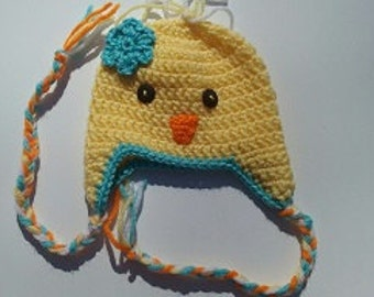 Baby chick prop.  Hat size 0-3 months, diaper cover 0-9 months adjustable.