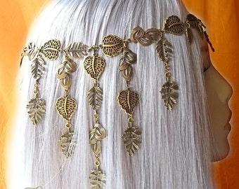 Woodland Headdress, Bronze Leaves Headdress, Pagan Leaf Headpiece, Forest Fairy Crown, Autumn Circlet, Medieval Headpiece, Cosplay, Larp
