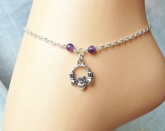 Claddagh Ankle Chain, Amethyst Anklet, Ankle Bracelet, Friendship, Love, Silver Chain, Beaded Anklet, Charm, Boho, Beach,Foot Jewelry,Purple