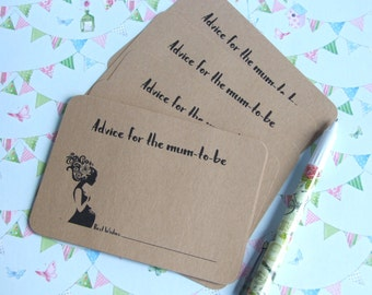 "Baby Shower - ""Advice for the Mum To Be""- Floral Silhouette Advice Cards - Pack of 10"