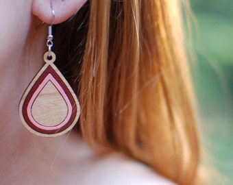 Wooden Earrings - Teardrop filled - Pink & Rust