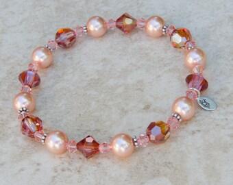 Burnt Orange Bracelet Burnt Orange Bridesmaid Bracelet Gift Swarovski® Crystal, Peach Pearl w/ Bali Sterling Silver, Autumn Fall Wedding