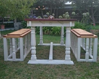 Recycled timber dining setting