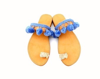 Boho leather sandals, Bohemian sandals, Greek leather sandals, Pom pom and lace sandals, Pom pom sandals, Womens sandals