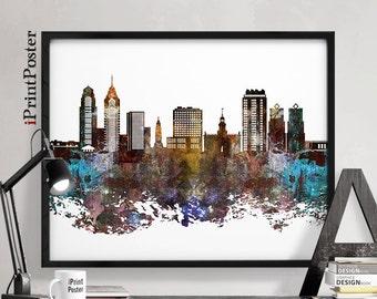 Philadelphia skyline, Philadelphia poster, Art Print, Pennsylvania, City prints, Wall art, Home Decor, distress, travel poster, iPrintPoster