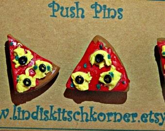 Pizza push pins, thumb tacks. drawing pins, Kawaii, home decor, polymer clay