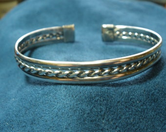 Sterling Silver Tri-Band Mid-Band 2-Wire Braided Cuff Bracelet