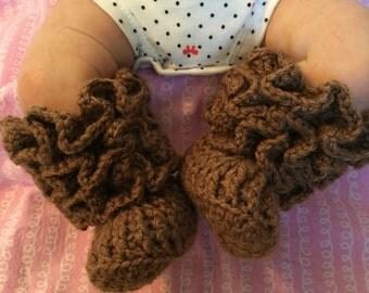 Ruffled Infant Girl Booties