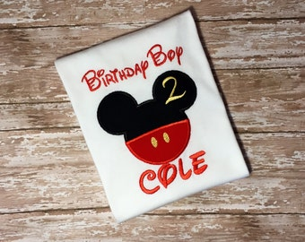 Birthday Boy Mickey Shirt- Disney Mickey Mouse Shirt- Applique Mickey Boys Birthday Shirt- Mickey Mouse Birthday Outfit
