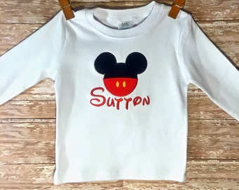Personalized Mickey Mouse Shirt- Toddler Mickey Shirt- Mickey Applique Shirt- Disney Tshirt- Infant Toddler Boys Tshirt Mickey Mouse