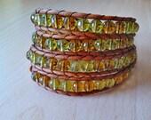 UNISEX Boho Wrap bracelet crystals/ Leather wrap bracelet/ Wrap Citrine amber crystals