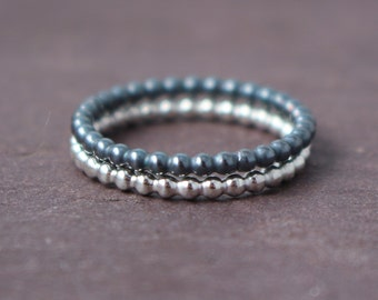 Bead ring blackened silver or silver