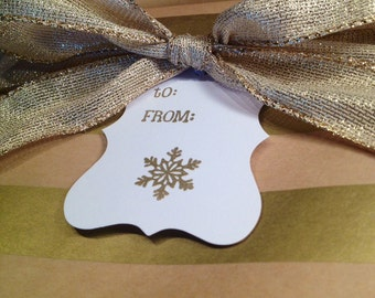 Snowflake Gift Tags/Wine Tags - Gold and White - Set of 6