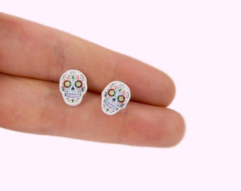 Skull Stud Earrings  Day Of The Dead Stud Earrings Mexican Sugar Skull Stud Earrings El Dia De Los Muertos Skull