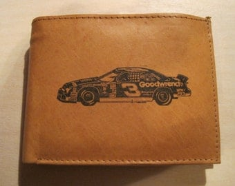 "Mankind Wallets Men's Leather RFID Blocking Billfold w/ ""Dale Earnhardt's #3 Goodwrench Chevrolet""~Makes a Great Gift!"