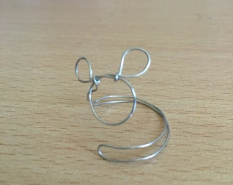 Adjustable wire wrapped Mickey Mouse ring