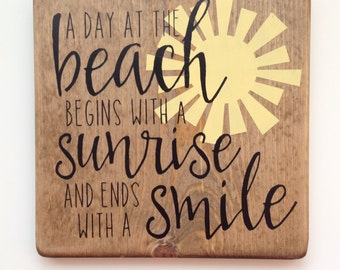 a day at the beach handmade painted sign nautical decor beach house vacation home
