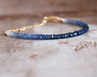 Ombre Sapphire Bracelet in Silver Or Gold, Genuine Sapphire Jewellery, Blue Sapphire Bracelet, September Birthstone, Sapphire Jewelry
