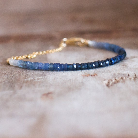 Ombre Sapphire Bracelet in Silver Or Gold, Genuine Sapphire Jewellery, September Birthstone, Sapphire Jewelry