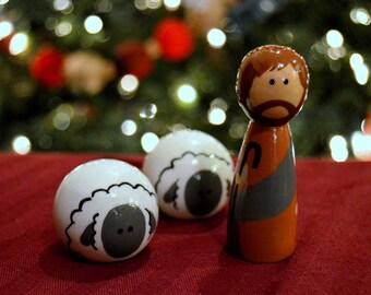 Peg Doll Nativity - Shepherd and Sheep