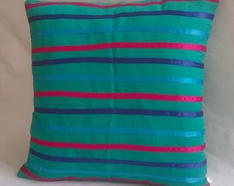 Ribbon Striped Turquoise Cushion Cover