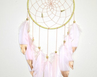 Boho Nursery Dreamcatcher,  Blush and Gold Dreamcatcher, Girls Bedroom Decor,Baby Shower Gift, Boho Baby Girl Nursery Decor,
