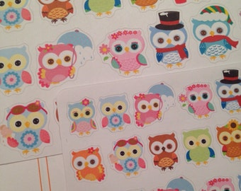 Season Owl stickers - choose small or large for your EC, plum paper, filofax, planner