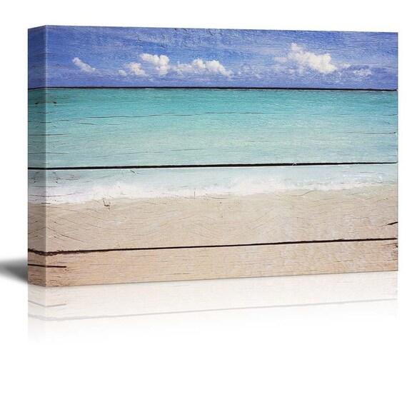 Canvas Prints Wall Art Tropical Beach On Vintage Wood