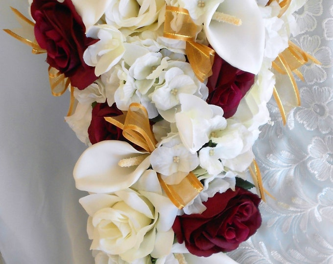 Silk Bride bouquet burgundy and ivory roses , calla lilies with hydrangeas 2pc set