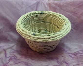 Rope basket, fabric basket, storage basket, crochet basket, coiled basket, bohemian bowl, hippie basket, handmade.