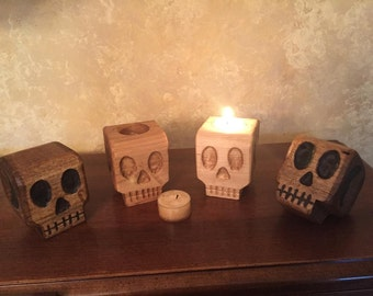 Pair of Hand Carved Wooden Skull - Halloween Decorative Skull - Skull Candle Holder