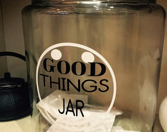 Happy Things Jar, Good Things Jar 1 Gallon Large Glass, Lid, Motivational Notes, Memory Jar, Wedding Shower Inspirational Jar, Happiness jar