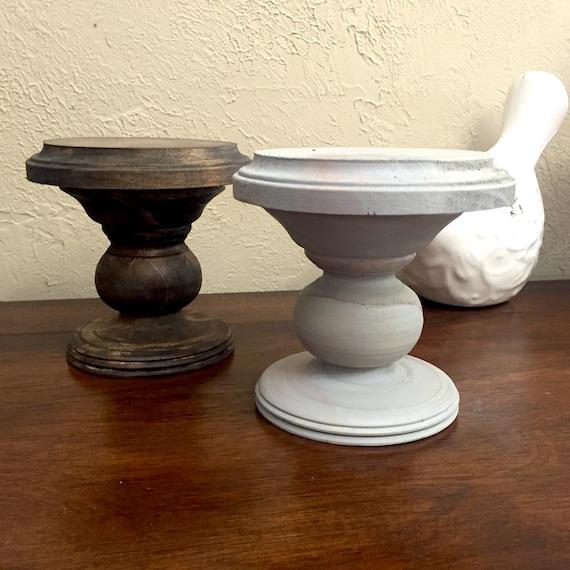 Pedestal Candle Holders : Wood pedestal pillar stand candle holder by bellevieartdecor
