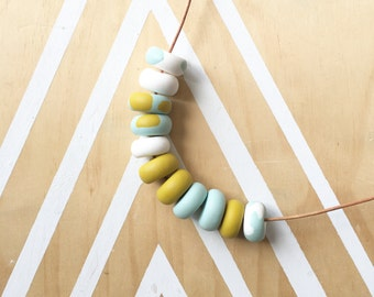 Polymer clay bead necklace. Polymer clay necklace. Mustard, white, duck egg blue 'The Jess'