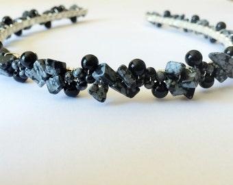 Snowflake Obsidian and Black Onyx headband