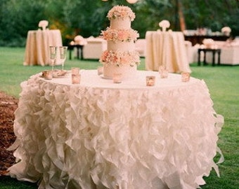 Lavish Curly Willow Ruffled/Ruffles Organza Table Skirt with Table Topper- Various Colors and Sizes Available