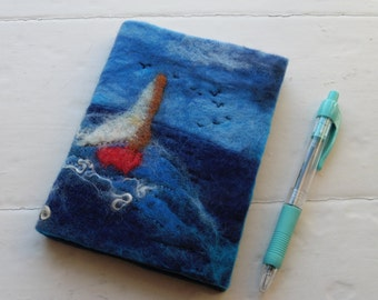 A6 Hand felted Journal Notebook: Sailing By