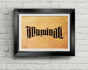 Illuminati Print - Cult, Occult, Angels and Demons, Da Vinci Code, Free Masons, Freemasons, Conspiracy, Science, Poster, Wall Art, Cool Gift
