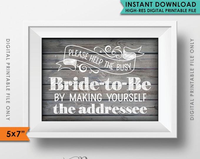 "Bridal Shower Address Envelope Sign, Help the Bride by addressing Your Envelope, Rustic Wedding Wood 5x7"" Instant Download Digital Printable"