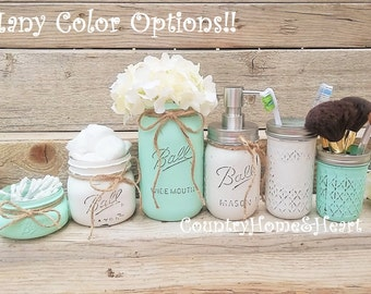 Mason Jar Bathroom Set-Bathroom Decor-Housewarming Gift-Bathroom Set-Mint-Mason Jar Bath Set-Bathroom Organizer-Beach Bathroom Decor-Mint