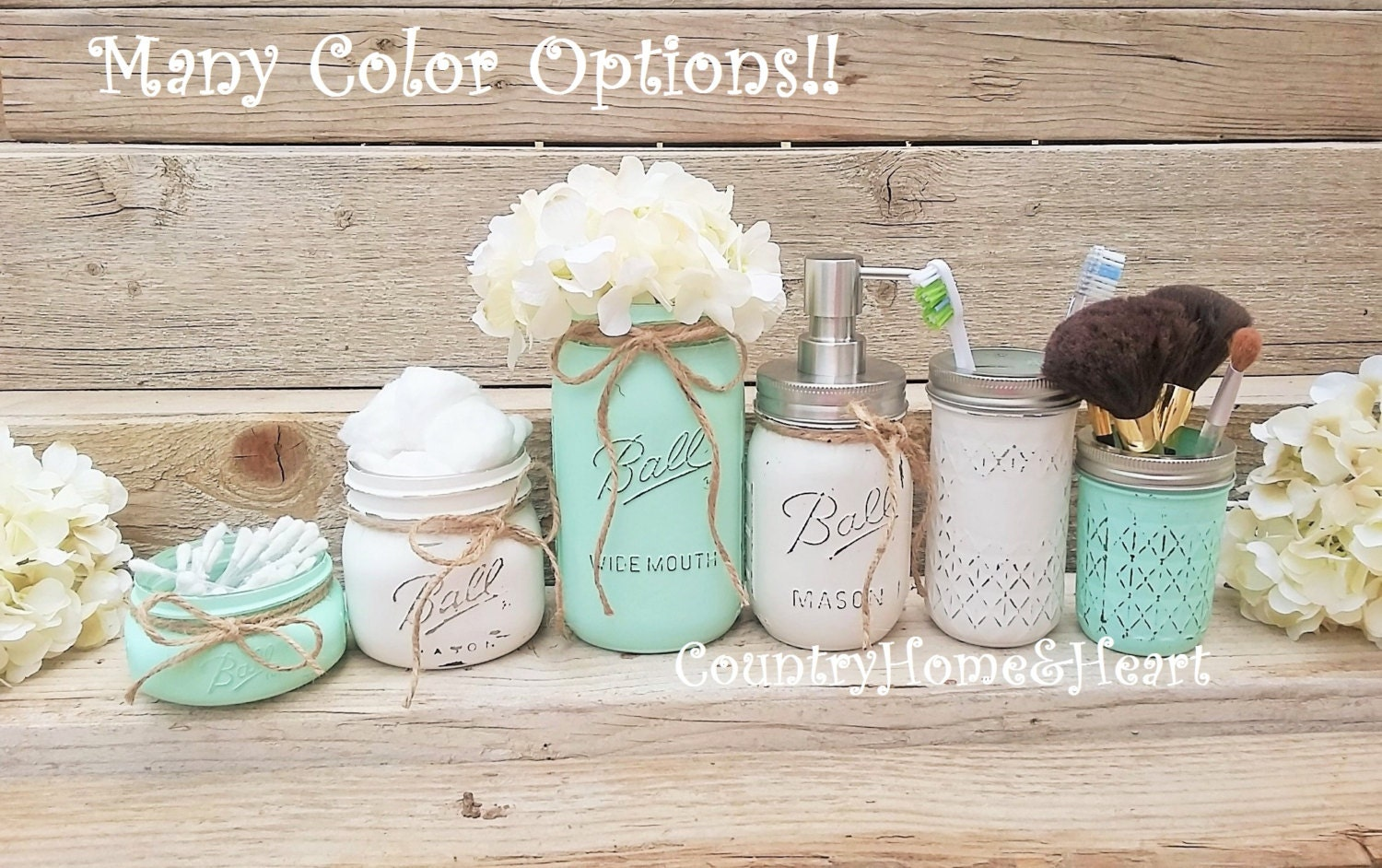 Mason jar bathroom set bathroom decor housewarming for Bathroom decor mason jars
