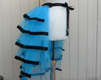 Blue Net Bustle with Black Ribbon