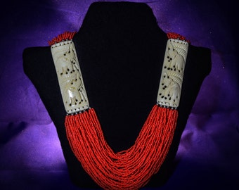 Ethnic necklace made of bones and beads