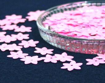 100 • 14 mm Pink Flower Sequins