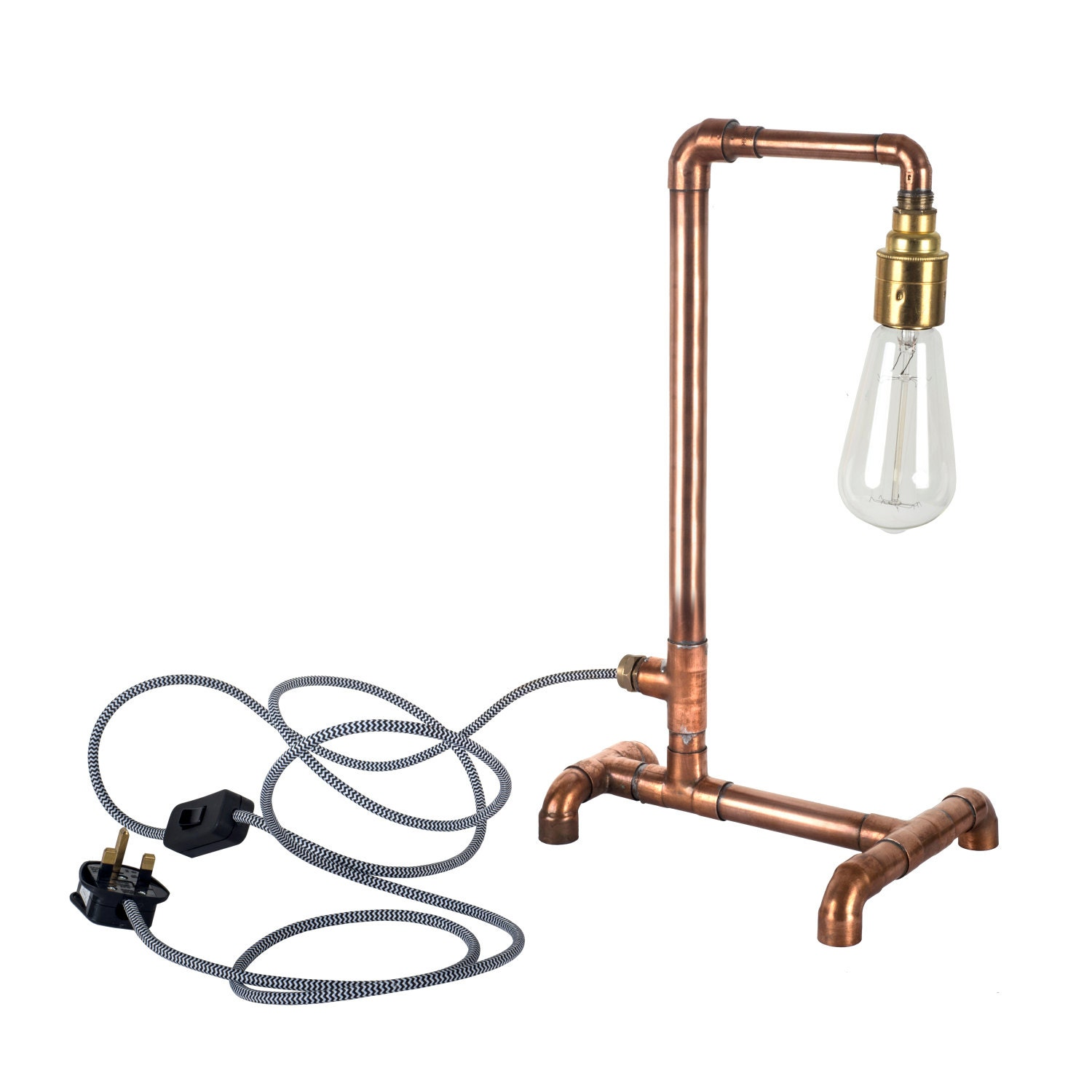 Copper pipe industrial light rustic table lamp e27 by for Table y copper tube
