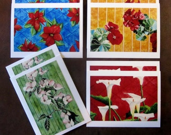 Blank Note Cards and Envelopes, Flower Note Card Gift Set, Original Art Blank Note Cards, Handmade Flower Note Cards and Envelopes