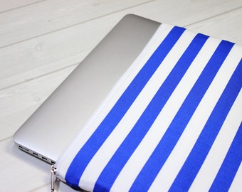 11 inch laptop case, Macbook Air sleeve, Macbook sleeve 12, nautical laptop case, blue stripe laptop case, zippered Macbook case