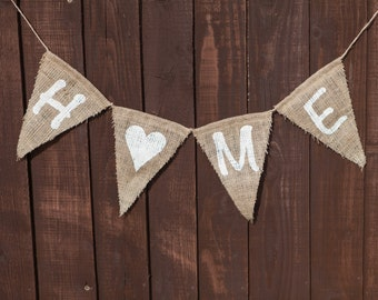 HOME Bunting - Vintage Handmade New Home / House Warming / New House / Welcome / Decoration Burlap / Hessian Bunting